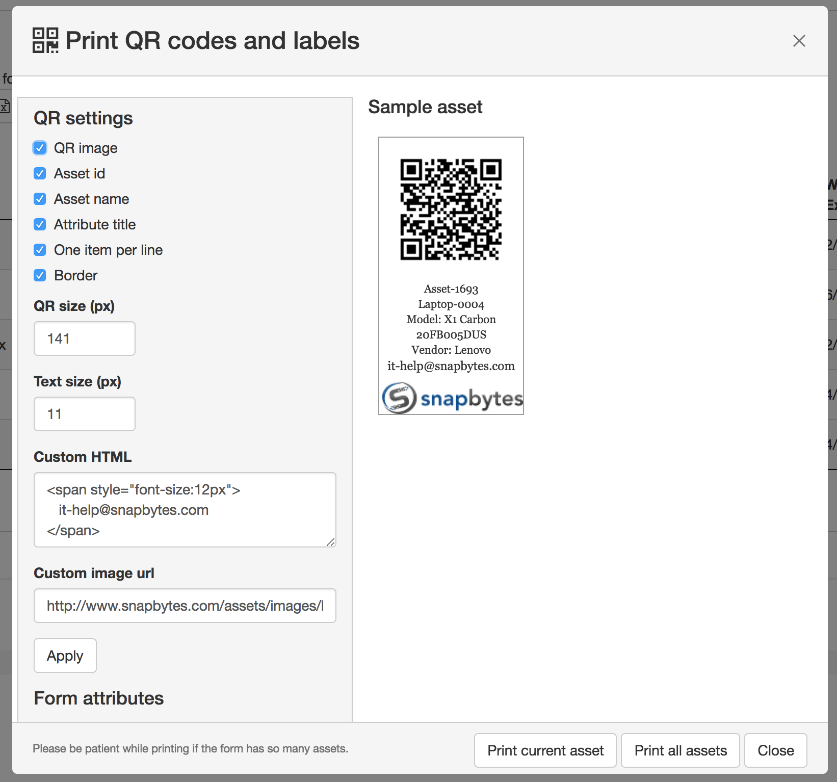 Printing Qr Codes And Labels Assets And Inventory