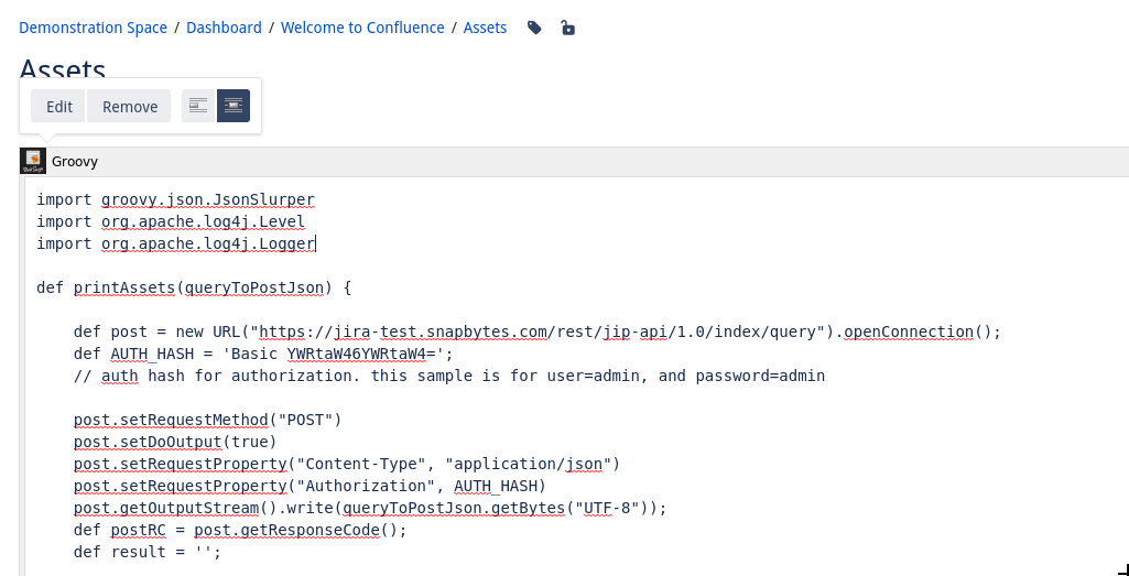 Displaying filtered assets on Confluence page with BobSwift